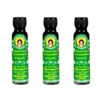 3 x 20 CC. Original Thai Herbal Massage Green Oil Relief Muscle Pain Liniment