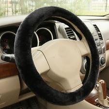 Black Warm Plush Steering Wheel Cover Winter Furry Fluffy Soft Plush Car NEW