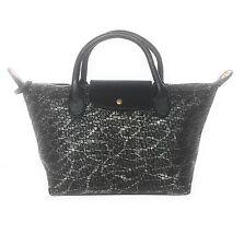 Women's Woven Designer Style Tote Shopper Bag, Silver Black