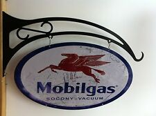 MOBILGAS MOBIL PETROL LARGE DOUBLE SIDED OVAL SIGN ON HEAVY DUTY FLANGE HANGER