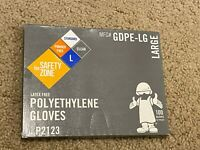 The Safety Zone Large Clear Latex/Powder Free Polyethylene Gloves, 100 Gloves/BX