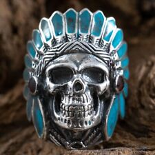 Turquoise Native American Skull Red Indian Chief Exeter Chiefs 925 silver Ring