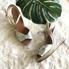 FLAWS Kate Spade Candice Espadrille Wedge Silver $258 Sandal Size 8