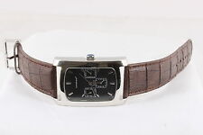 LONDON MENS CALENDAR ANALOG RECTANGLE WATCH BROWN STRAP WORKS  6357