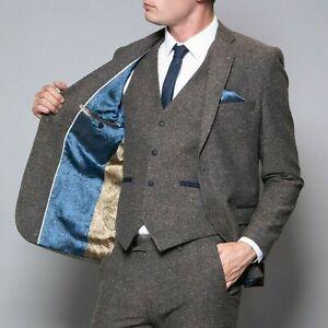Mens Brown Tweed Herringbone Wool Peaky Blinders Wedding Vintage 3 Piece Suit
