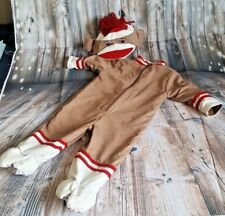 Sock Monkey Baby Toddler Costume with Hat Lined Jumpsuit Authentic Kids 6-9 Mo
