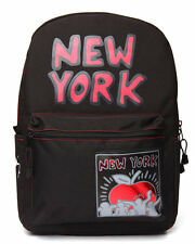 Brand New MOJO Keith Haring New York Red Apple Backpack School Bag Black NWT