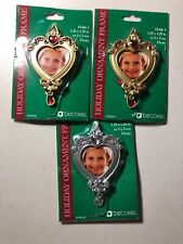 Lot Of 3 New Holiday Ornament Frames Decorel Silver Gold Great Gift Holidays B10