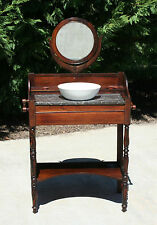 Sweet 19th c Child's Rosewood Black Marble Top Washstand w Mirror & Bowl
