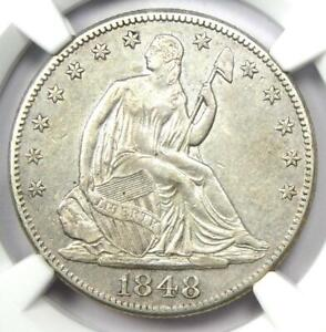 1848-O Seated Liberty Half Dollar 50C - Certified NGC AU Detail - Rare Date Coin
