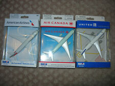Set of 3 Dahon model jet airline passenger aircraft United Air Canada American
