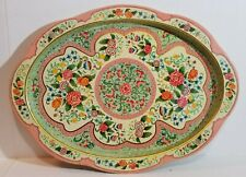 VINTAGE DAHER DECORATED WARE TIN OVAL SERVING TRAY: MADE IN HOLLAND FLORAL