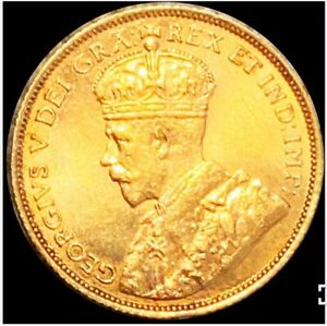 1913 CANADA GOLD 5$ GEORGE V COIN -SCARCE