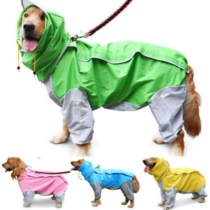 Pet Dog Waterproof Hooded Raincoat Clothes Jacket Rain Coat Body Cover Hoodie
