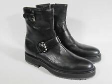 A.Testoni Men ankle black leather boots monk 9 US/ 42 EU/ 8 UK NEW