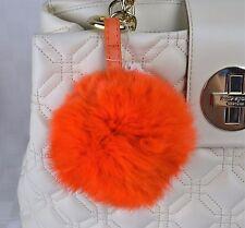 US SELLER Big Fluffly Fox Fur Pom Pom Ball Keyring / Bag Charm Gold Ring