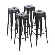 Howard 30 inch Metal Bar Stool Stackable Modern Industrial Design Set of 4 Black