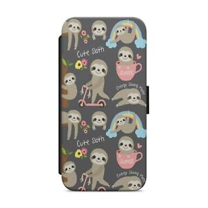 Cute Baby Sloth Pattern WALLET FLIP PHONE CASE COVER FOR IPHONE SAMSUNG      z68