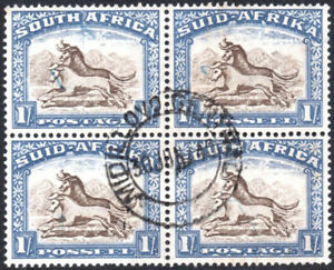 South Africa 1933-48 1s blk of 4, SG.62, VFU UNIONDALE ROAD SAR&H postmark c.£36