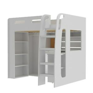 Carter White High Sleeper Bed Frame with Desk and Wardrobe Storage