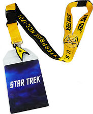 Star Trek USS Enterprise Yellow Command Lanyard Sticker ID Badge Holder & Charm