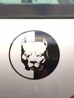 Sticker autocollant tuning tete de Pitbull car voiture moto biker noir, rouge