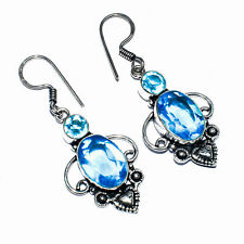 Swiss Blue Topaz Gemstone 925 Silver Jewelry Earring - 2.5""