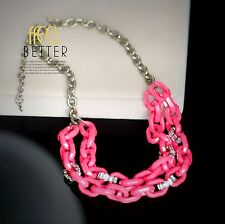 Collier Doré Mi Long Chaine Resine Cristal Rose Vif Retro QT12