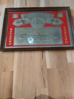 VINTAGE BUDWEISER BEER ANHEUSER BUSCH MIRRORED WOOD FRAME PICTURE BAR SIGN 25x18