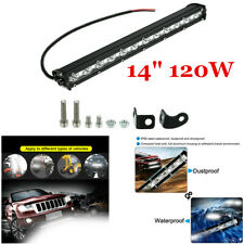 Waterproof 14inch 120W Slim Single Row Car Off-Road LED Work Light Bar Spot Beam