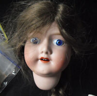 """Vintage 1920s MB Japan 7 Bisque Girl Doll Head 5 3/4"""" Tall"""