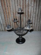 CANDLE HOLDER STAND WROUGHT IRON AND WOOD VINTAGE