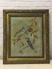 Vtg Antique W. Stiles Signed Oil Painting Blue Jay Birds Eating Berry on Branch