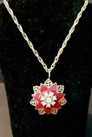 """Vintage Gold and Red Floral Pendant necklace, Clear Rhinestones, red enamel, 24"""""""