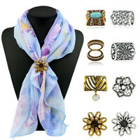 Women Shawl Ring Clip Lapel Pins Scarves Fastener Scarf Buckle Faux Turquoise