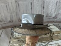 VINTAGE New York Creation Gray Straw Mini Top Hat with Large Bow and Black Viel