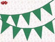 Winter pattern snowflake green Christmas Bunting Banner 15 flags by PARTY DECOR