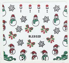 Christmas Glitter Snowflakes Snowman Santa Xmas Tree Gifts 3D Nail Art Stickers