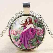 Vintage flower fairy Cabochon Tibetan silver Glass Chain Pendant Necklace #2637