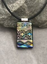 Southwest Dichroic Fused Glass Pendant Handmade w/necklace