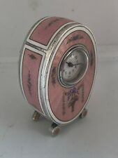 Miniature Swiss Silver Enamel Boudoir Carriage Clock Quintana Habana Sterling
