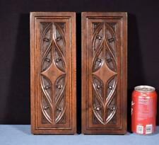 *Pair of Gothic Carved Architectural Panels in Solid Walnut and Oak Wood
