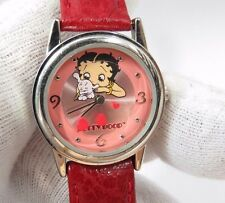 """BETTY BOOP, """"3D"""" Floating Heart's, Cute Red Leather Band,Lady's/Kids WATCH, 1147"""