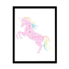 FP1065 Unusual Unicorn Gifts – A4 Print Personalised Word Art