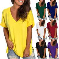 Women Summer V Neck Short Sleeve T-Shirt Casual Loose Tunic Tops Blouse Pullover