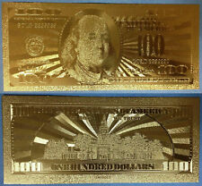 Gold 100 Dollar Bank Note Cash Bill United States of America in God We Trust USA