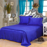 Bedroom Silk Solid  Flat Sheet Modern Soft Satin Bed Cover Cool Bedding Sheets