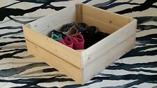 Handmade Wooden Crate Box Rustic Shelf Toys Shoes Storage Cake Stand 12 Colours