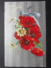 HEARTIEST CONGRATULATIONS Poppies Postcard on Silvered Surface - Old Postcard