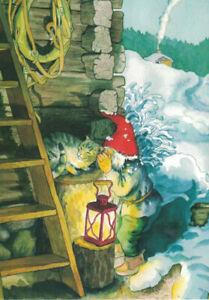 """Inge Löök Postkarte A6 """"Zwerg und Katze"""" Laterne Winter Schnee  224"""
